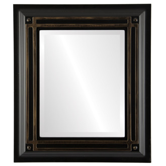 Imperial Beveled Rectangle Mirror Frame in Matte Black with Gold Lip