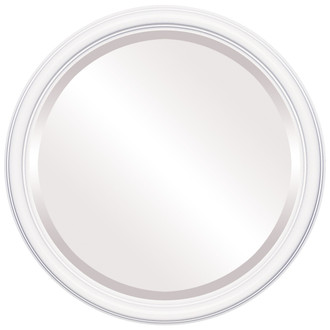 Saratoga Beveled Round Mirror Frame in Linen White
