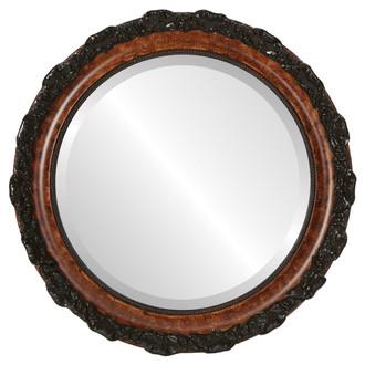 Rome Beveled Round Mirror Frame in Burlwood