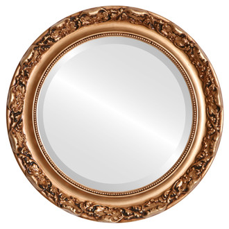 Rome Beveled Round Mirror Frame in Gold Paint