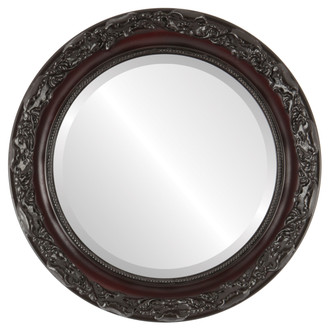 Rome Beveled Round Mirror Frame in Rosewood