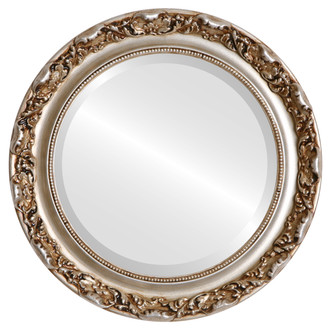 Rome Beveled Round Mirror Frame in Silver