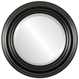 Regalia Beveled Round Mirror Frame in Matte Black