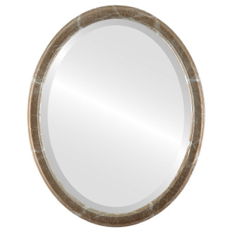 Toronto Beveled Oval Mirror Frame in Champagne Silver