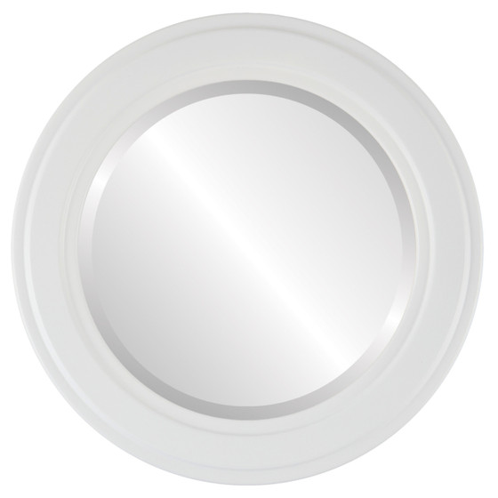 Wright Beveled Round Mirror Frame in Linen White