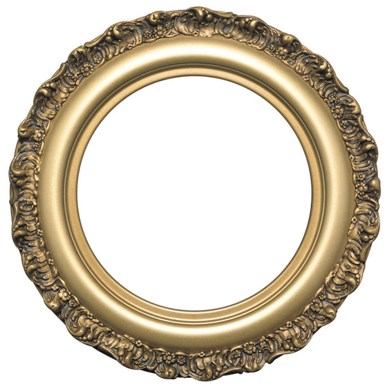 round frame in desert gold finish antique gold picture