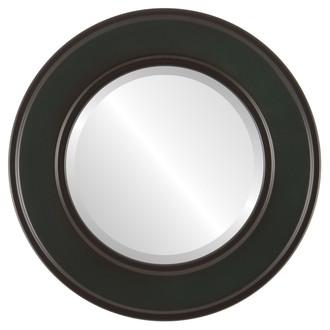 Montreal Beveled Round Mirror Frame in Hunter Green