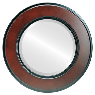 Montreal Beveled Round Mirror Frame in Rosewood