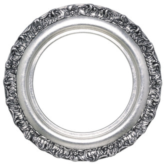 Venice Round Frame # 454 - Silver Leaf with Black Antique