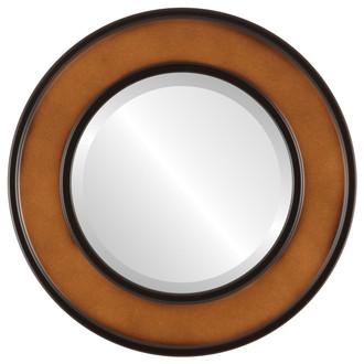 Montreal Beveled Round Mirror Frame in Walnut