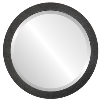 Manhattan Beveled Round Mirror Frame in Black Silver