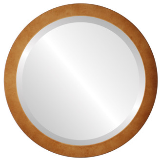 Manhattan Beveled Round Mirror Frame in Burnished Gold
