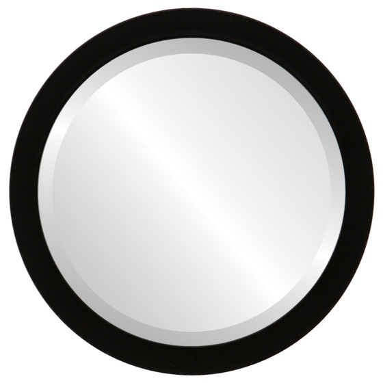 Manhattan Beveled Round Mirror Frame in Matte Black