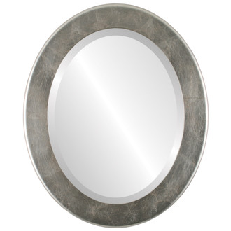 Avenue Beveled Oval Mirror Frame in Silver Leaf with Brown Antique