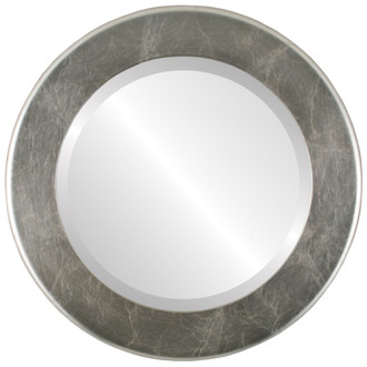Avenue Beveled Round Mirror Frame in Silver Leaf with Brown Antique