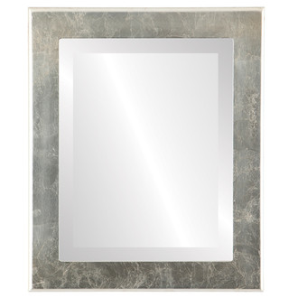 Avenue Beveled Rectangle Mirror Frame in Silver Leaf with Brown Antique