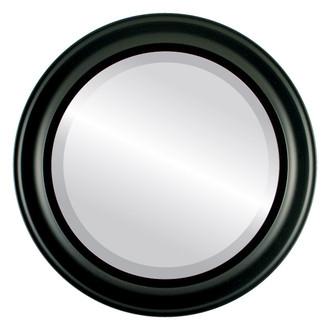 Messina Beveled Round Mirror Frame in Matte Black