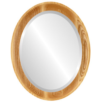 Vancouver Beveled Oval Mirror Frame in Honey Oak