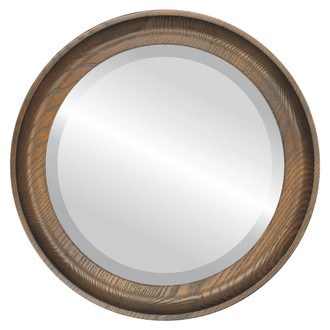 Vancouver Beveled Round Mirror Frame in Toasted Oak