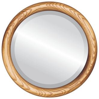 Sydney Beveled Round Mirror Frame in Carmel