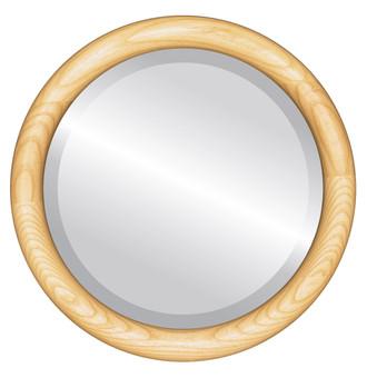 Sydney Beveled Round Mirror Frame in Honey Oak