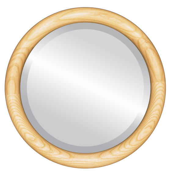 Sydney Beveled Round Mirror Frame in Honey Oak