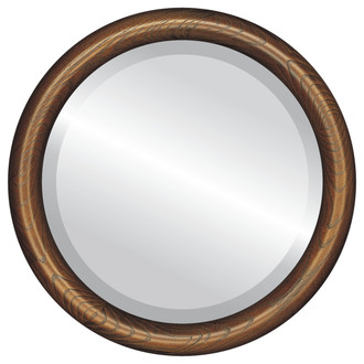 Sydney Beveled Round Mirror Frame in Toasted Oak