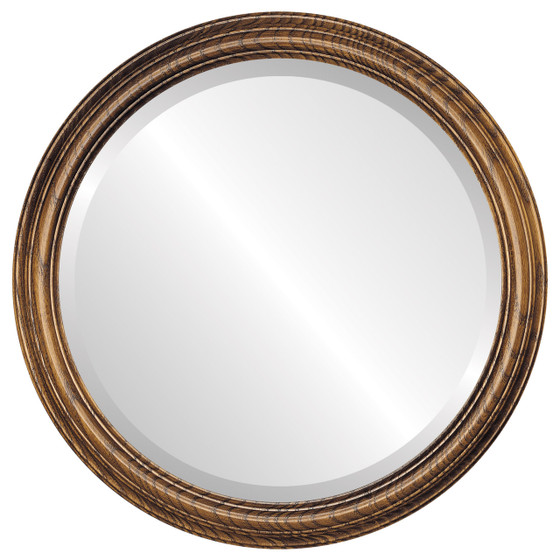 Melbourne Beveled Round Mirror Frame in Toasted Oak