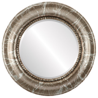 Heritage Beveled Round Mirror Frame in Champagne Silver