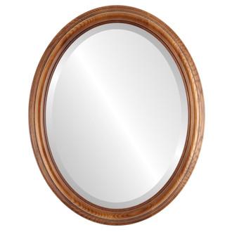 Melbourne Beveled Oval Mirror Frame in Toasted Oak