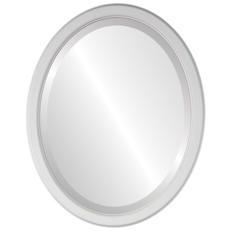 Toronto Beveled Oval Mirror Frame in Linen White