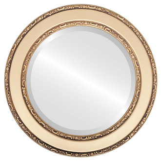 Monticello Beveled Round Mirror Frame in Gold Spray
