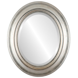 Lancaster Beveled Oval Mirror Frame in Silver Leaf with Brown Antique