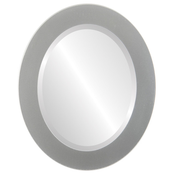 Cafe Beveled Oval Mirror Frame in Bright Silver