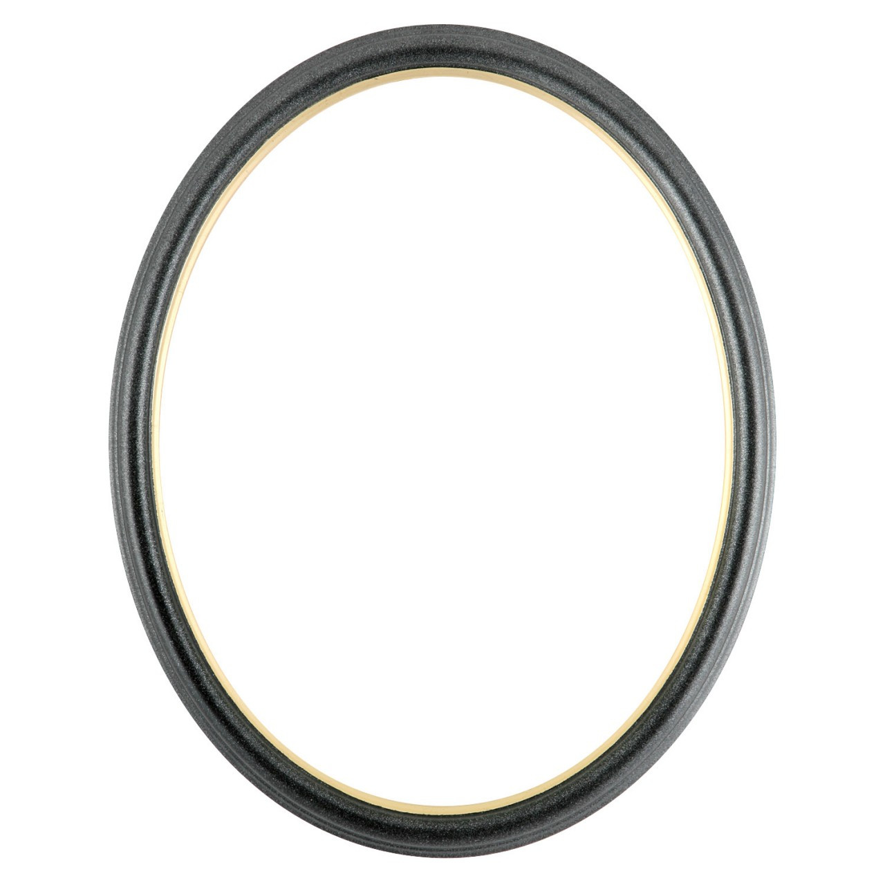 Oval Frame In Black Silver Finish With Gold Lip Simple