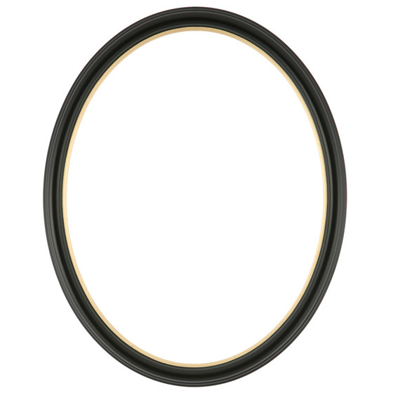 Oval Frame in Matte Black Finish with Gold Lip| Simple Black Wooden ...
