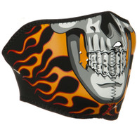 Burning Skull Ski Half Face Mask Side View