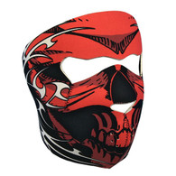 Red Tribal Skull Ski Mask