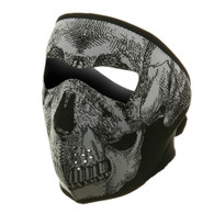 Ski Full Face Mask - Black White Skull - Front