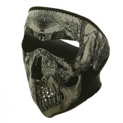 Ski Full Face Mask - Glow Skull - Front