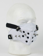White Punk Rivet Leather Half Ski Mask
