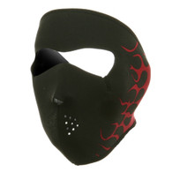 Red Flames Ski Face Mask Front View