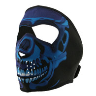 Ski Full Face Mask - Blue Chrome Skull -  Front View