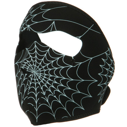 Glow Spider Web Ski Face Mask Front View