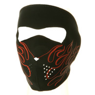 Orange Flame Ski Face Mask Front View