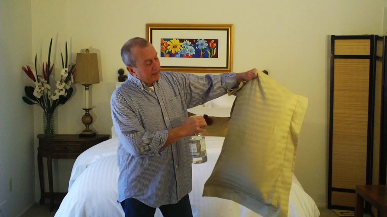 Tension & water releases wrinkles from cotton linens