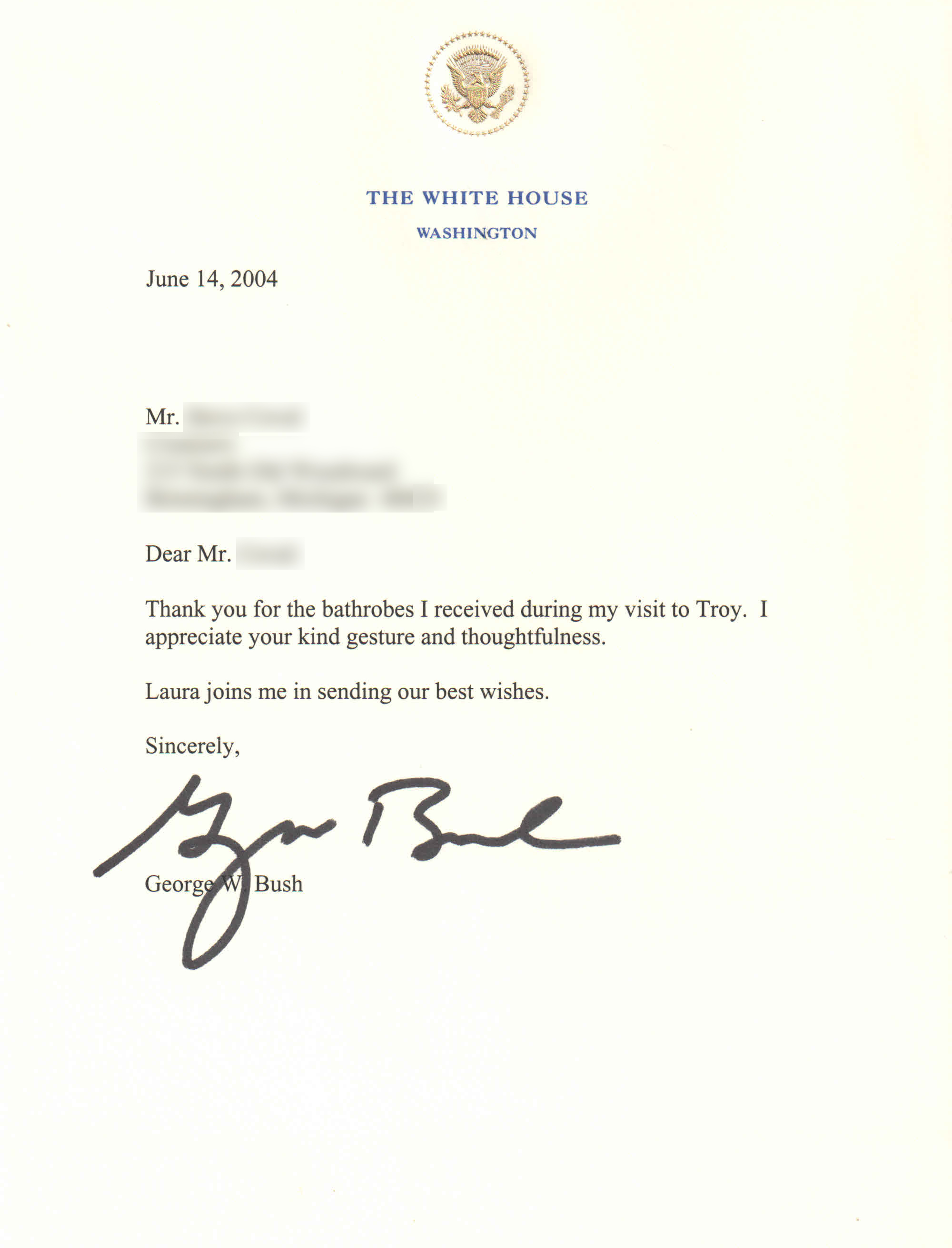 Thank you to Vero Linens from President G.W. Bush