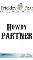 Howdy Partner Stacked - Red Rubber Stamp