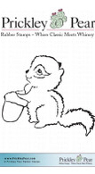 Chipmunk with Acorn - Red Rubber Stamp