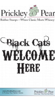 Black Cats Welcome Here - Red Rubber Stamp